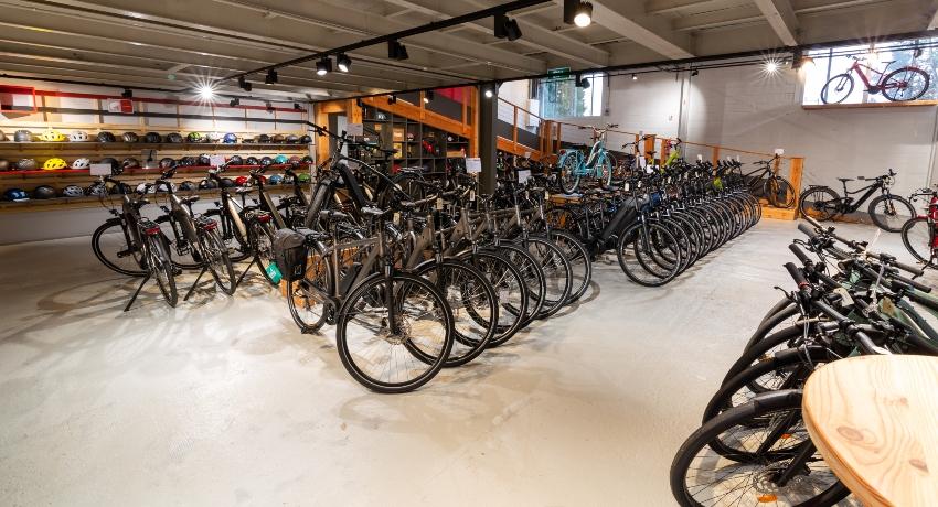 Vélos électriques à l'intérieur du magasin Plessis Bouchard