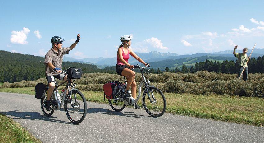 Cyclistes en train de voyager dans la nature